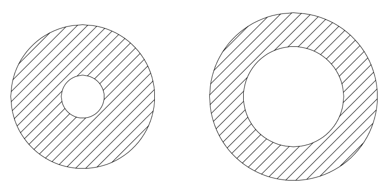 Relative cross sections of the top joint (left) and lower joint.