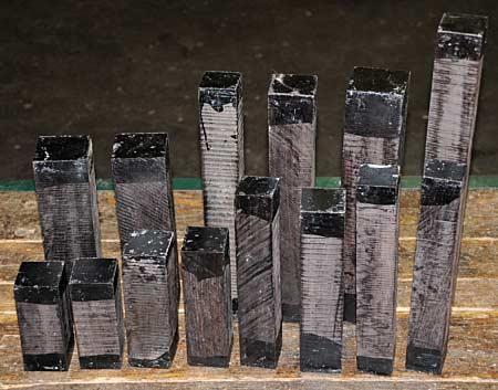 Blackwood billets after lumbering